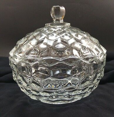 vintage antique clear glass lidded candy dish / bowl scalloped