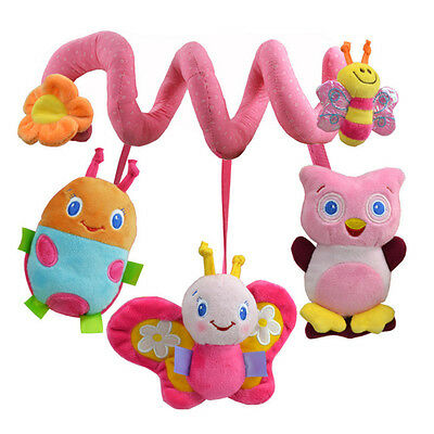 Pink Baby Cot Spiral Activity Hanging Decoration Toys for Cot/Car Seat/Pram Gift
