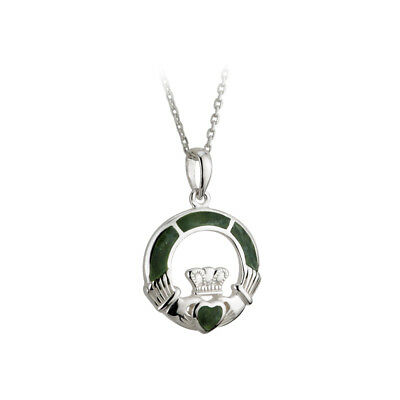Claddagh Necklace Silver & Connemara Marble Pick Chain Length Made in Ireland