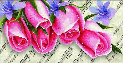 No Count Cross Stitch Kit PINK ROSES & MUSIC, 61 x 30cm