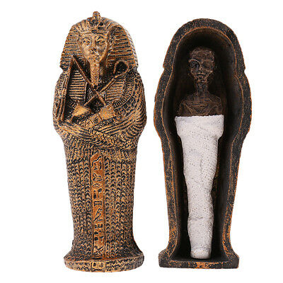 Ancient Egyptian Coffin with Mummy Figurine Sculpture for Home Decoration