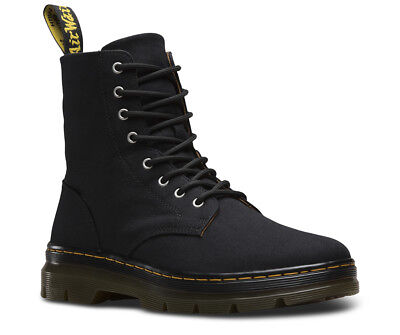 Men's Dr Martens Combs 8 Eyelet Black Canvas Boots UK Sizes 7 - 11 Doc Martens