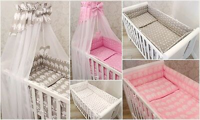 10p BABY BEDDING SET/BUMPER/CANOPY/HOLDER/DUVET/CANOPY for CRIB, COT or COT BED