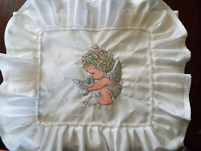 White Cotton- Embroidered Pillow Cover, Glow in the Dark- Pram,Bed -40cm x 30cm
