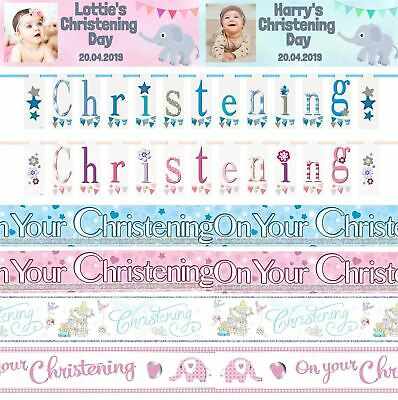 Girls Boys Christening Party Banners Decorations Bunting Personalised Pink Blue