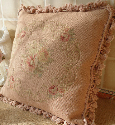 Antique French Country Chic Shabby Pastel Pink Scroll Rose Needlepoint  Pillow