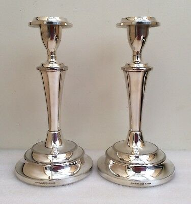 Pair of Vintage Ianthe Silver Plated Beaded Candlesticks