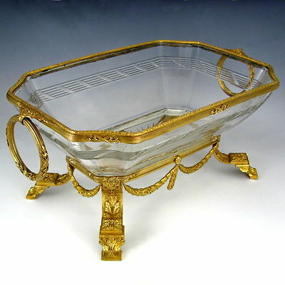 Large Antique French Empire Cut Crystal Gilt Bronze Centerpiece Bowl Footed