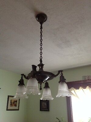 "Antique Ceiling Light Fixture Chandelier 4 lights metal victorian ""Brooklyn"""