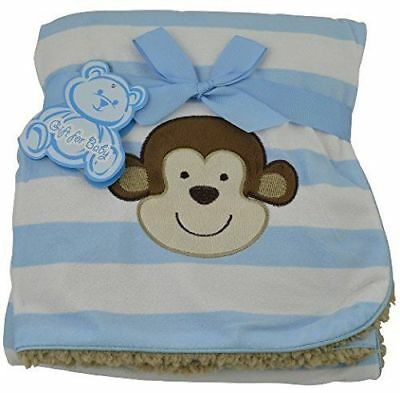 Little Mimos Just One You Blue White Brown Tan Monkey Stripe Baby Boy Blanket