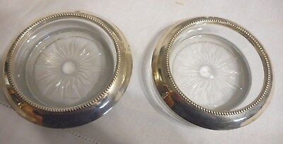 Vintage Frank Whiting Co Pair Glass Coasters w/ Sterling Silver Rim Size 4