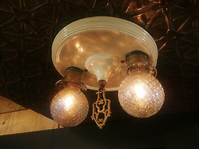 VTG Art Deco Flush Ceiling Mount 2 Bulb Light Fixture RESTORED Brass Finial