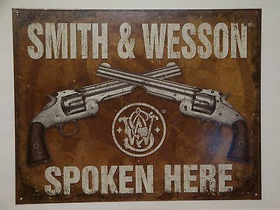 "Vintage Style ""Smith & Wesson Spoken Here""  Metal Sign Man Cave Garage Decor S83"
