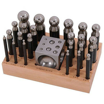 25pc DOMING PUNCH & BLOCK SET Metal Shaping Dapping Craft Jewellery Model Making
