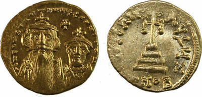 CONSTANS II, with CONSTANTINE IV. 641-668 AD. AV Solidus (20mm, 4.48 gm).