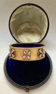 A Magnificent Gold, Pearl & Enamel Bangle In Fitted Box Circa 1820's