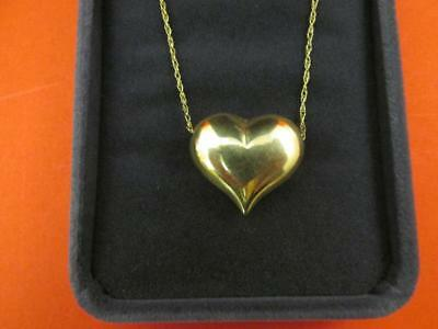 14k Solid Gold 3D Puff Heart Vintage Pendant 16 Inches The Heart Is Made Of 18K