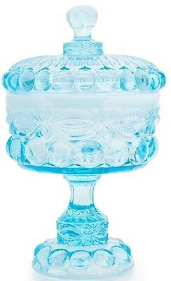 Covered Compote / Small - Eyewinker - Aqua / Blue Opalescent Glass - Mosser USA