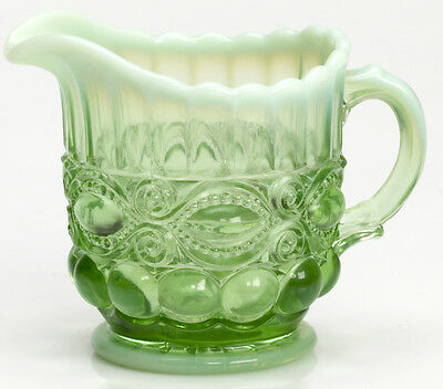 Creamer - Eyewinker - Green Opalescent Glass - Mosser USA