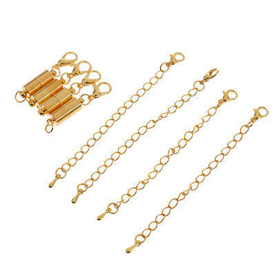4pcs Barrel Style Magnetic Clasps Finding Lobster Clasps With Extender Chain