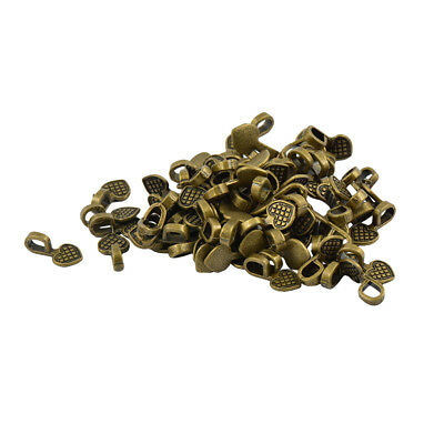 100pcs Antiqued Bronze Heart Charm Glue On Bail Jewelry Findings 16x8mm