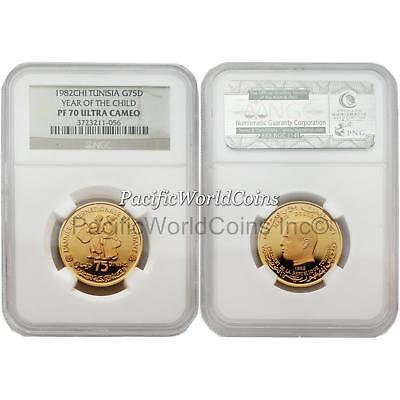 Tunisia 1982 Year of Child 75 Dinars Gold NGC PF70 ULTRA CAMEO