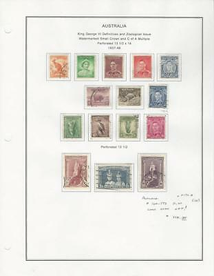 Australia Collection 1937-46 on Album Page, #166-179 Used Set of 15