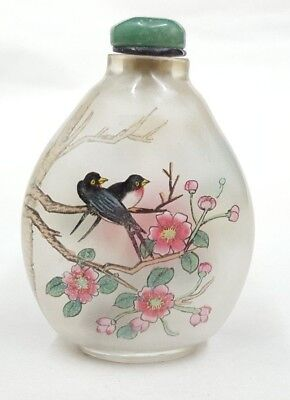 Translucent Inside Painted Chinese Snuff Bottle - Birds & Floral Blossom Image