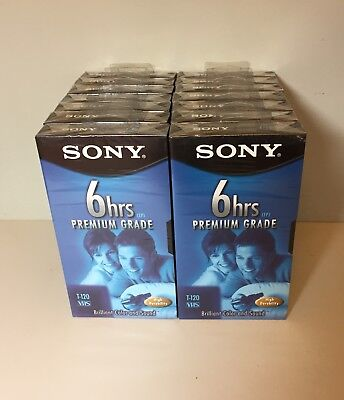 14 Sony T-120 Premium Grade 6 Hour Blank EP VHS Cassette Tapes Factory Sealed