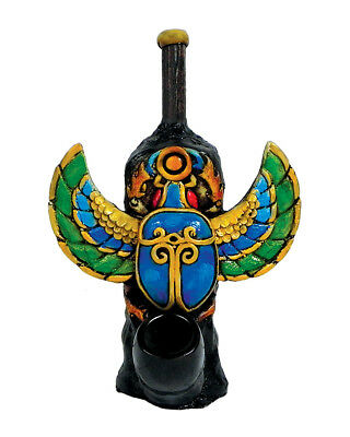 Scarab Beetle Handmade Tobacco Smoking Hand Pipe Ancient Egyptian Amulet Symbol