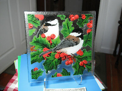 Peggy Karr Chickadees & Holly 10 Inch Square Fused Glass Plate in Box