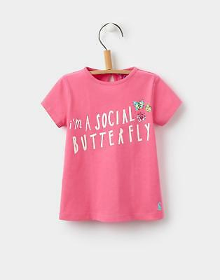 Joules Toddlers' Pixie T-Shirt with Character Screen Print in Pink Butterfly
