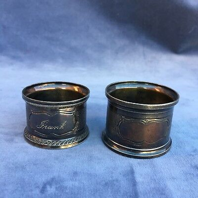 Pair Vintage Napkin Rings Silver Plate Antique Engraved Frank