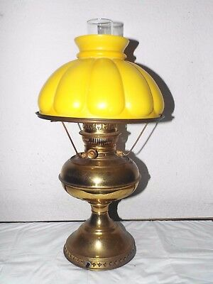 GONE WITH THE WIND VINTAGE BRASS ELECTRIC OIL BURNER HURRICANE LAMP w/COOL SHADE