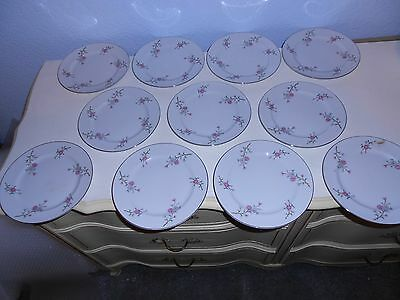 "11 ARLEN FINE CHINA Cathay Flora & Silver Trim 7 1/2"" Salad Plates 1476 Japan"