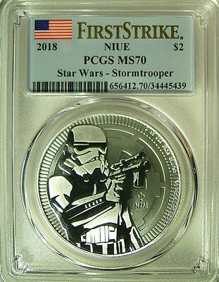 2018 Niue $2 STAR WARS - STORMTROOPER 1 Oz Silver Coin  PCGS MS 70 FIRST STRIKE