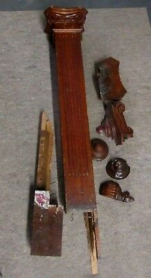 Antique Victorian Wood Newel Post Plus Extra Pieces  From An Indy Estate