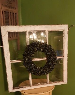 Architectural Salvage ~ 6 PANE WOOD WINDOW SASH FRAME ANTIQUE 28x29 with WREATH