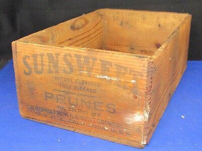Sunsweet California Prunes Wood Box,Ink on Both Ends,Grown & Packed in Cali.25lb