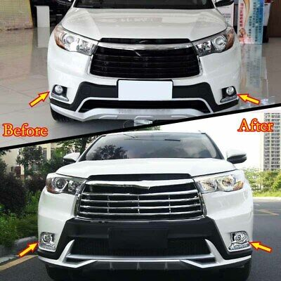 Fit For Toyota Highlander 2015 2016 Chrome Front Fog Light Lamp Frame Cover Trim