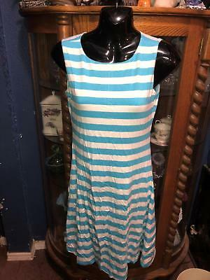 0a4ba0cb81c Ebza Womens Large Dress Tank Style Light Blue   White Stripes New With Tags
