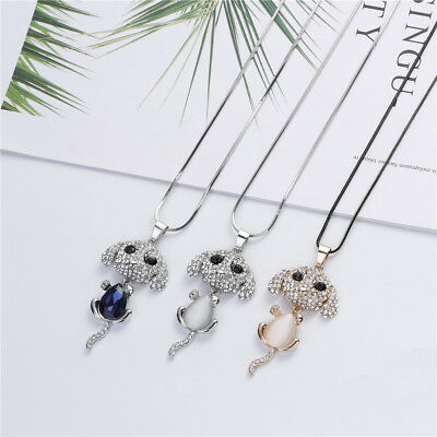Fashion Glitter Opal Mini Poodle Dog Pendant Necklace Gift for Sweater Dress