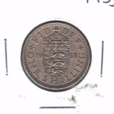Great Britain 1955 English Crest One Shilling Coin