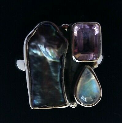 566 Biwa Pearl Moonstone Amethyst solid 925 sterling silver ring sz O/S rrp$79