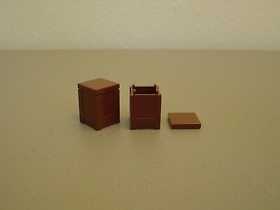 LEGO Lot of 2 Reddish Brown 2x2x2 Container Pieces