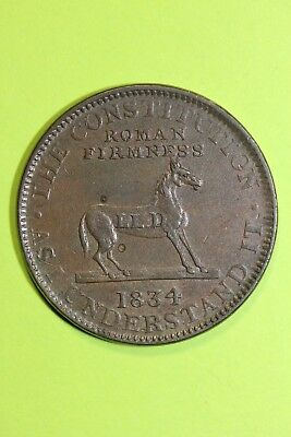 1834 Hard Times Token Horse Void of Pomp The Constitution As I See It OCE 043