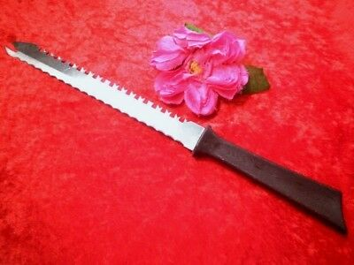 Vintage Carving Knife Lrg Bread Knife Stainless Steel Usa Double Serrated Side