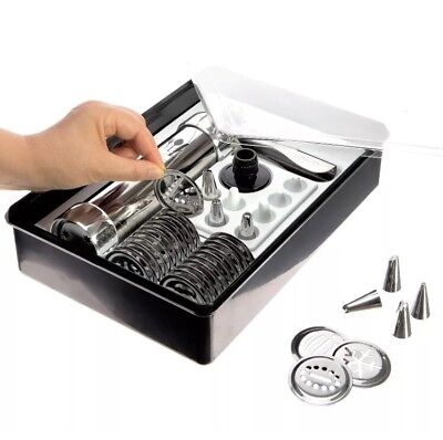 DKST Kitchen Cookie Press Kit includes Storage Case, 25 Seasonal Discs, 8 Icing