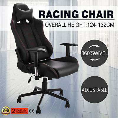 Racing Office Gaming Computer Chair PU Leather Reclining 360°Swivel Armchair