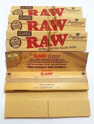RAW 4 X Booklets King Size Classic Natural Unrefined Rolling Papers+ Filter Tips